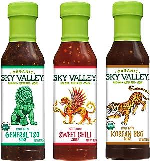 Sky Valley Organic General TSO Sauce, Sweet Chili Sauce & Organic Korean BBQ Sauce Variety Pack, (3-Pack)