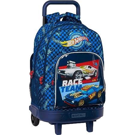 Safta 612138918 Mochila Escolar con Carro Incluido y Espalda Acolchada de Hot Wheels, 330x220x450mm, azul, talla única