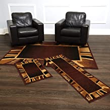 Home Dynamix Konya Contemporary Modern Area Rug 3 Piece Set Border Brown Beige Black