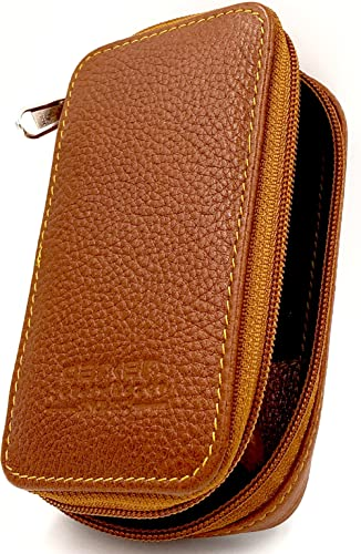 Genuine Leather Double Edge Safety Razor Zippered Travel Case with Compartment for Blades too - from Parker Safety Ra...