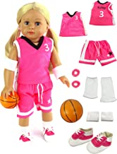 American Fashion World Pink Basketball Player Uniform fits 18 Inch Doll