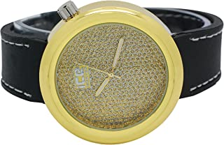 Mens Techno Ice Master Full Stardust Illusion Gold Dial with Black Band Watch