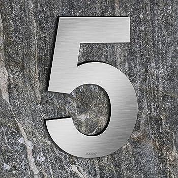 Hausnummer aus Edelstahl selbstklebend H/öhe 7.5 cm Hausnummer Design Hausnummer