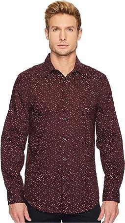 Long Sleeve Geo Graph Print Dress Shirt