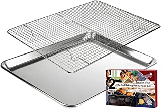 KITCHENATICS Jelly Roll Aluminum Cookie Pan Tray with 304 Stainless Steel Cooling, Baking & Roasting Wire Rack Set- 10.6