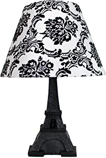 damask lamp shade black and white