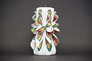 Candela Intagliata A Mano - Colori Delicati Bianco E Rosso - Regalo per la Festa della Mamma o per la Moglie - EveCandles