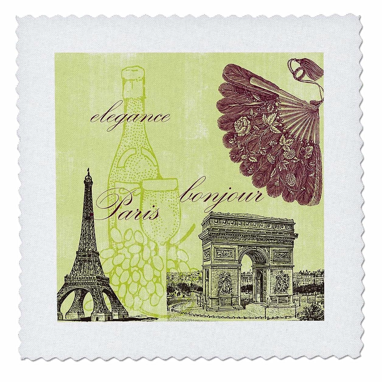 3dRose qs_79112_2 Paris Elegance Vintage Art Wine Eiffel Tower Quilt Square, 6 by 6-Inch jefgxipxgzbgflqa