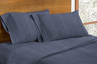 Dormisette Luxury German Flannel Sheets & Pillowcases Set, 4 Piece (King, Blue Stripe)