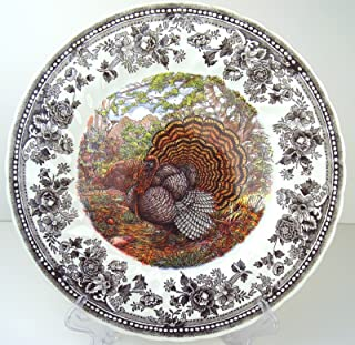 Set of 4 Queen's Majestic Beauty Turkey Thanksgiving DINNER Plates, Quintessential Game Collection