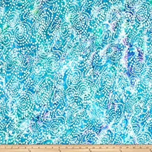 Textile Creations Hudson Bay Rayon Challis Dots Aqua/Blue Fabric by The Yard,