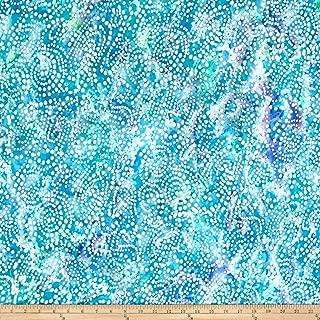 Textile Creations Hudson Bay Rayon Challis Dots Aqua/Blue Fabric by The Yard