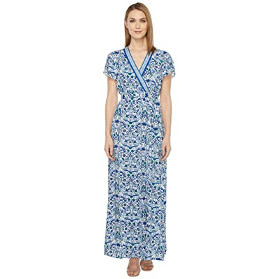 Hale Bob All Mixed Up Rayon Woven Maxi Wrap Dress (Blue) Women