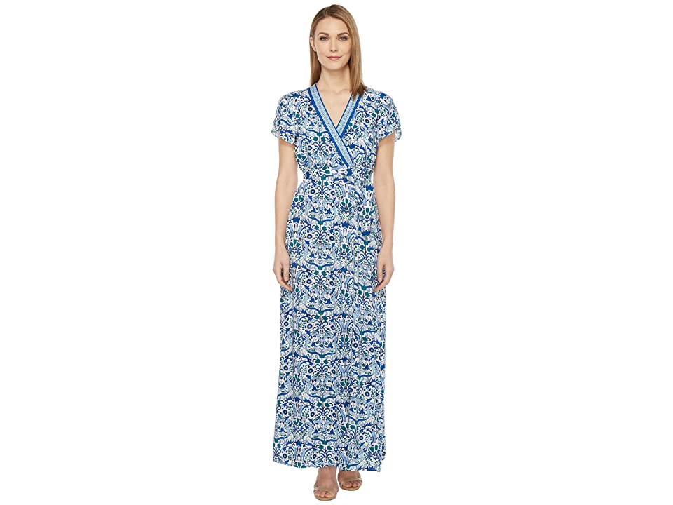 Hale Bob All Mixed Up Rayon Woven Maxi Wrap Dress (Blue) Women