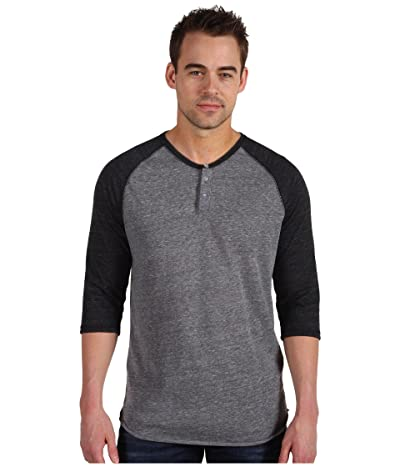 Alternative 3/4 Raglan Henley (Eco Grey/Eco Black) Men