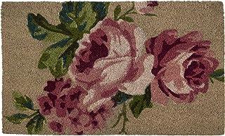 "Northlight Pink and Green Floral Spring Rectangular Coir Door Mat 30"" x 17.75"""
