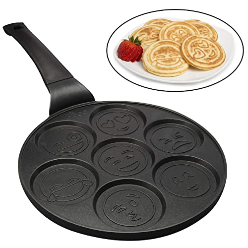 Emoji Smiley Face Pancake Pan - Non-stick Pan Cake Griddle with 7 Unique Flapjack