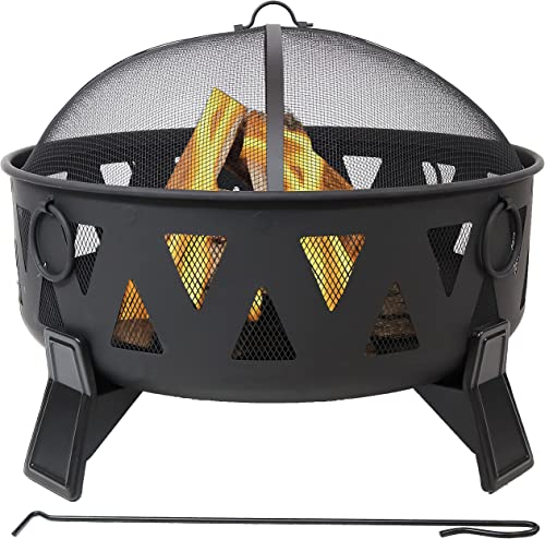 discount Sunnydaze Steel Fire Pit with Geometric Triangle Cutouts discount - Outdoor Metal Wood-Burning Fire Feature with Poker and Spark Screen for Backyard and Patio Bonfire outlet online sale - 34-Inch outlet online sale