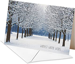 American Greetings 6027115 Deluxe Snowy Park Christmas Boxed Cards and White Envelopes, 14-Count