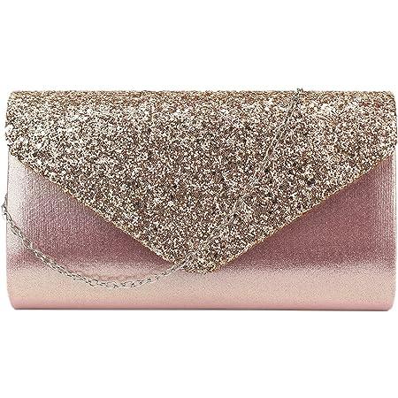 Milya Damen Glitzer Clutch Abendtasche, Strass Handtasche Hochzeit Party Unterarmtasche Umhängetasche Schultertasche mit Schulterkette