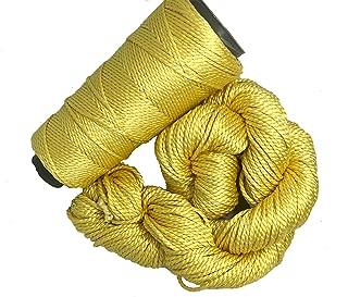 Knitsilk 2 ply Mulberry Silk Yarn in Cones, 50 Grams, 75 Yards, Great for Knitting, Crochet, Jewellery Making (Sunshine)