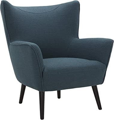 "Amazon Brand – Rivet Luna Upholstered Crescent Mid-Century Accent Chair with Tapered Legs, 31.5""W, Teal"