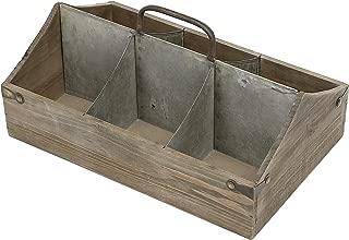 MyGift Vintage Wood Organizer Caddy, Decorative Storage Crate with Galvanized Zinc Metal Dividers & Handle