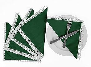 Vargottam Dark Green Home Décor Everyday Basic Washable Table Linen Napkin Set-Pack of 6