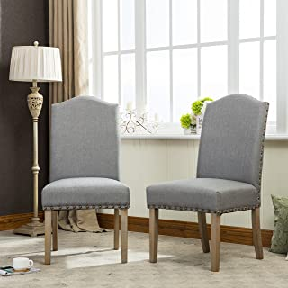 Roundhill Furniture Mod Urban Style Solid Wood Nailhead Grey Fabric Padded Parson Chair (Set of 2), Gray