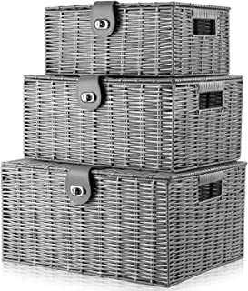 Homepeaz Set of 3 Woven Storage Basket Bin Wicker Hamper Stackable Box with Lid & Lock, Container Tote Cube Organizer for ...