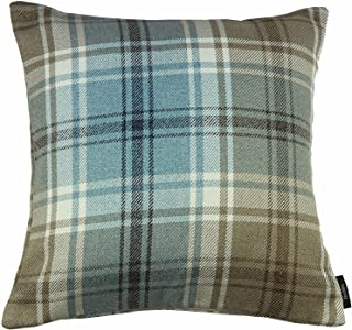 McAlister Textiles Angus Pillow Case | Duck Egg Blue Tartan Check Decorative Woven Square Throw Scatter Sofa Cushion | Size - 16 x 16 Inches