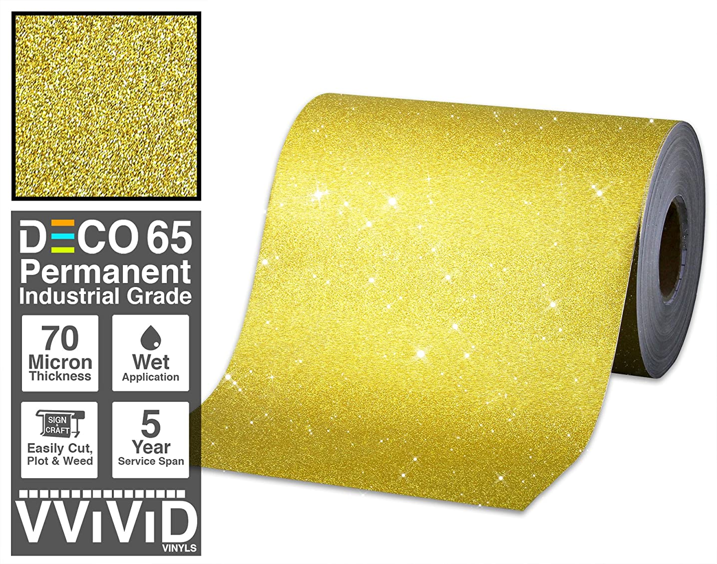 VViViD Glitter Gold DECO65 Permanent Adhesive Craft Vinyl Roll for Cricut, Silhouette & Cameo (6ft x 1ft)