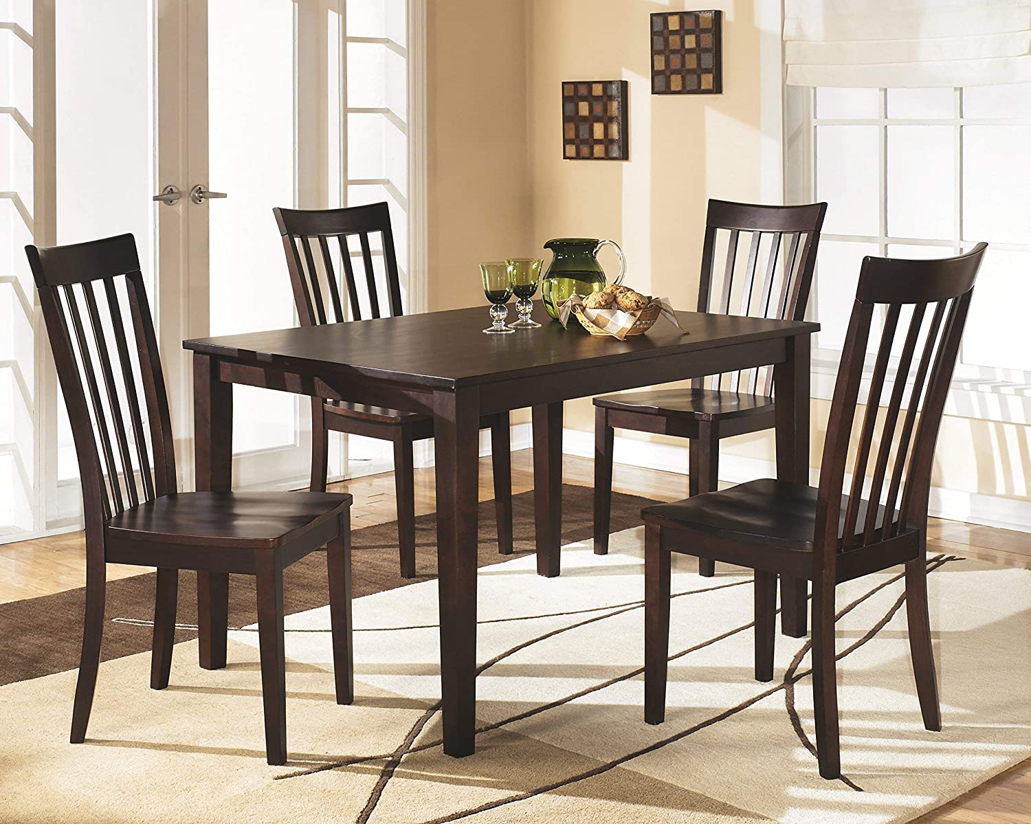 Signature Design by Ashley Hyland Dining Room Table and Chairs Set of 9,  Reddish Brown