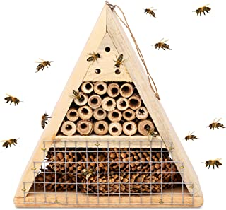 Mason Bee House - Handmade USA Natural Elderberry Bee Hotel - Bee Hive Attracts Peaceful Bee Pollinators to Enhance Garden...
