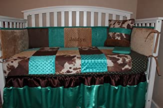 Turquoise and Brown Cowhide Western Embossed 6 Piece Crib Bedding Set