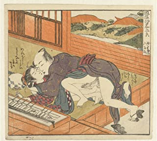 History Prints Erotica - Japanese Shunga - Young Woman Overpowered, Isoda Koryusai 1770-1775 - 24 x 36 inches