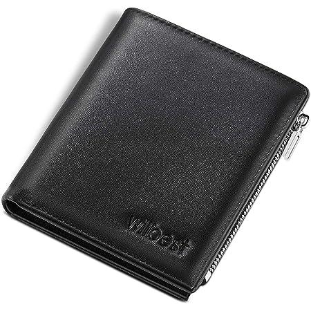 wilbest® Portefeuille Homme en Cuir Véritable Nappa avec Blocage RFID Porte-Monnaie Homme Porte-Cartes pour Carte d'Identité/Cartes de Crédit, Grande Zippé Poche à Monnaie, 2 Compartiments à Billets