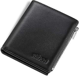 wilbest® Portafoglio Uomo Pelle Vera Rfid Blocking con Tasca Portamonete, tasca con zip, 2 Scomparti Banconote,12 Porta Ca...