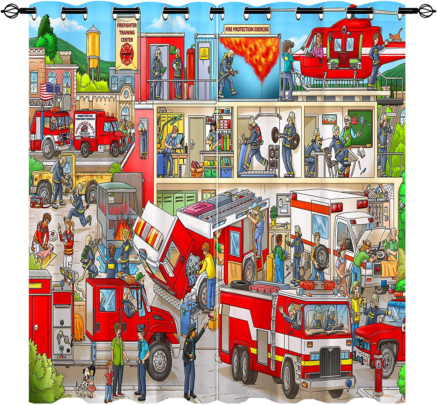 ANHOPE Fire Cheap mail order shopping Truck Curtains Children's with C Window Drapes Theme Super special price
