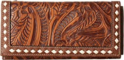 Floral Embossed Buck Stitch Wallet