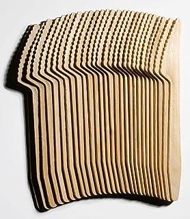 LePaJo 100 - Cuchillos de madera con revestimiento de cera orgánica, 100 unidades, Cuchillos desechables para fiestas, picnic, pasteles, postres, barbacoas, cubiertos desechables aprox. 16,5 cm