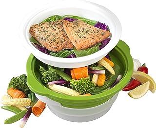 Salter Vaporizador para microondas BW06259 DUOsteam para Verduras, Carne y Pescado con Tapa de Silicona de Acero al Carbono, Verde, 26.4 x 24 x 12.2 cm