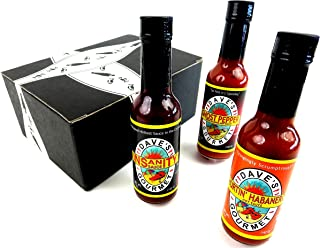 Dave's Gourmet Insanity Sauces 3-Flavor Variety: One 5 oz Bottle Each of Insanity, Hurtin Habanero, and Ghost Pepper in a BlackTie Box (3 Items Total)