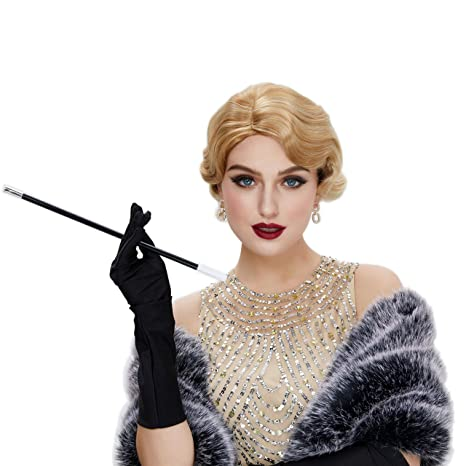 Create Easy Vintage Hairstyles STfantasy Finger Wave Wig Short Curly Synthetic Hair for Women 1920s Cosplay Costume Halloween Party Daily Everyday Wear (Ombre Blonde #27T613)  AT vintagedancer.com