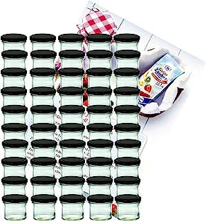 MamboCat - Lot de 50 pots de marmelade - En verre incassable - Contenance de 125 ml - TO 66 - Avec couvercle noir - Avec l...