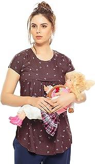 ZEYO Women's Rayon Cotton Nightwear Maternity Top | Brown & Peach Printed Feeding Top