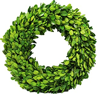 Preserved Boxwood Wreath Decor, Boxwood Round Wreath for The Front Door, Grapevine Loops Boxwood Wreath for Home Décor (12 inch)