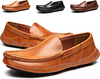Men's Genuine Leather Slip On Flat Shoes Black Walking Loafers Classic Moccasin