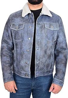Mens Real Sheepskin Trucker Jacket Shearling Western Style Noah Denim Blue