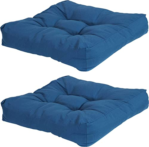 lowest Sunnydaze Set of 2 Tufted Square Patio Cushions for Indoor/Outdoor Furniture - Replacement Cushions for sale Chairs and Seating - Olefin Seat Pads for Porch, Deck, and online sale Garden Seats - Blue sale